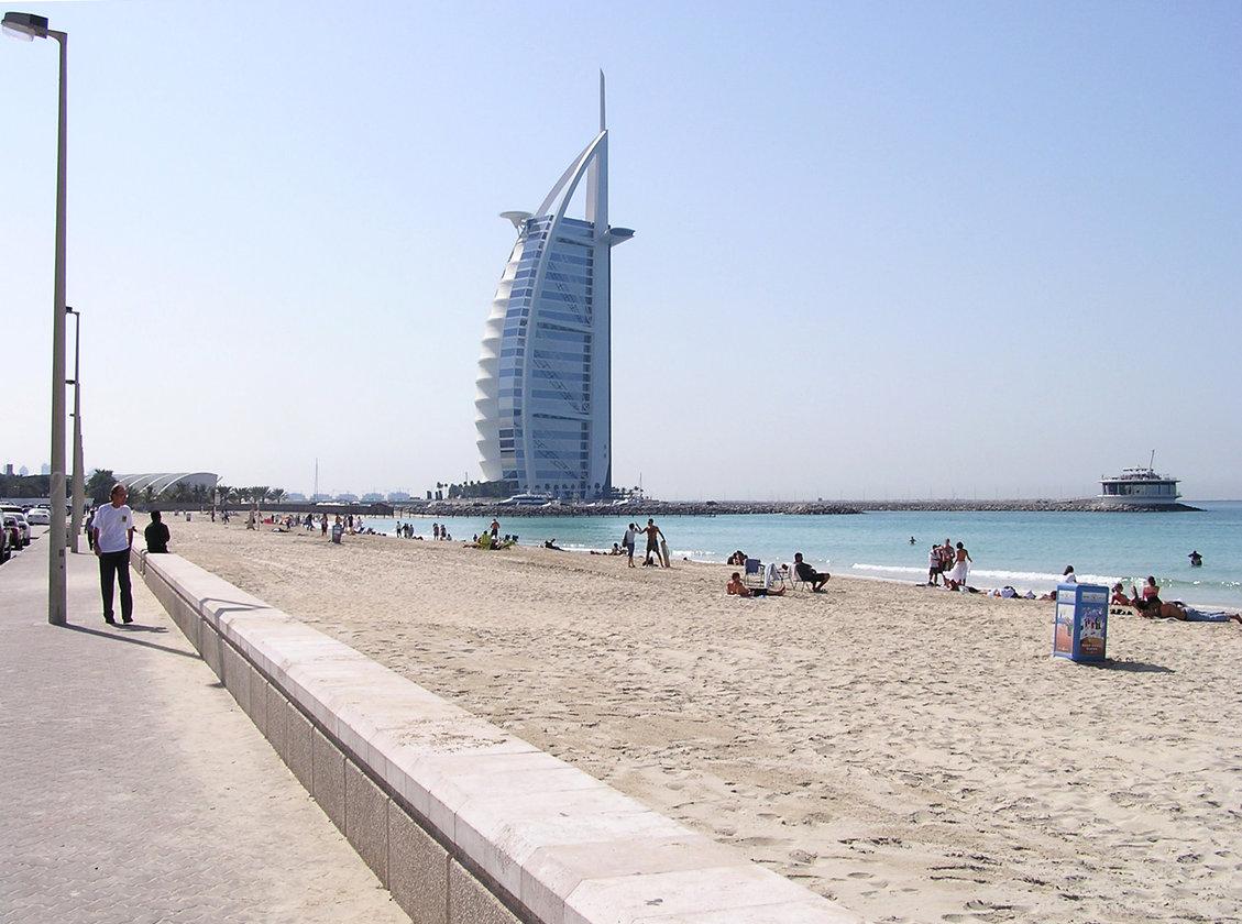 Пляж с видом на парус дубай отель 5 звезд дубай